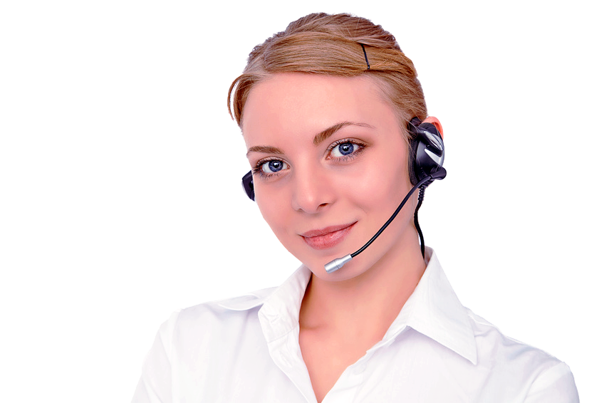 girl with headset clear background